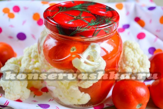 Цветная капуста на зиму рецепт с томатами